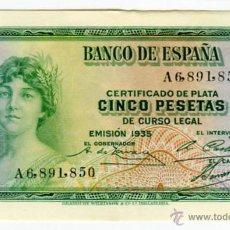 Billetes españoles: 5 PESETAS REPUBLICA ESPAÑOLA EMISION 1935 SERIE A. Lote 51936295