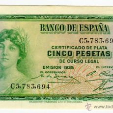 Billetes españoles: 5 PESETAS REPUBLICA ESPAÑOLA EMISION 1935 SERIE C. Lote 51936375