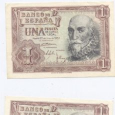 Billetes españoles: 1 PESETA-22-07-1953-PAREJA CORRELATIVA-SC. Lote 52123552