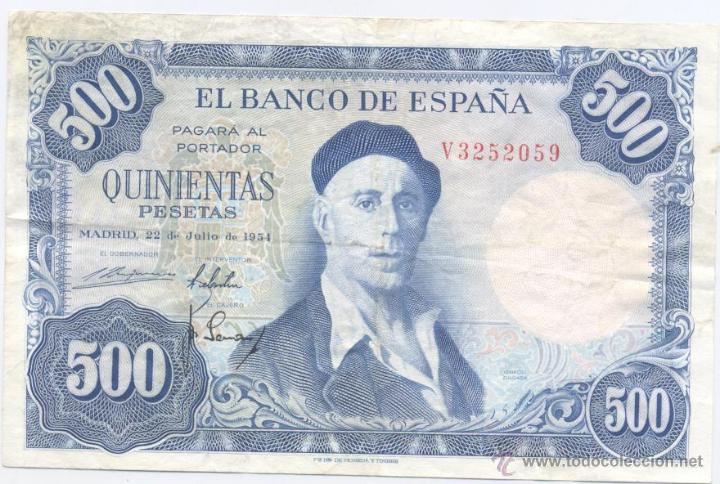 500 PESETAS- 22-07-1954 (Numismática - Notafilia - Billetes Españoles)