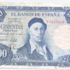 Billetes españoles: 500 PESETAS- 22-07-1954. Lote 52330299