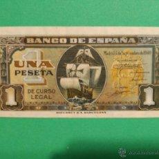 Billetes españoles: BILLETE 1 PESETA SEPTIEMBRE 1940. ESPAÑA (FRANCO). NAO SANTA MARÍA. SIN SERIE SIN CIRCULAR. Lote 52891793