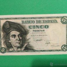 Billetes españoles: BILLETE DE 5 PESETAS DE MARZO 1948. ESPAÑA. EL CANO. SIN SERIE, SIN CIRCULAR PLANCHA Y NÚMERO BAJO.. Lote 52891864