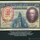 Billetes españoles: 25 PESETAS DE 1928 SELLO ROJO DE LA FALANGE JEFATURA LOCA DE ESPLUGAS DE LLOBREGAT BARCELONA - Nº4. Lote 154342388