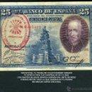 Billetes españoles: 25 PESETAS DE 1928 SELLO ROJO DE LA FALANGE JEFATURA LOCAL DE ESPLUGAS DE LLOBREGAT BARCELONA - Nº5. Lote 163079665
