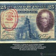 Billetes españoles: 25 PESETAS DE 1928 SELLO ROJO DE LA FALANGE JEFATURA LOCA DE ESPLUGAS DE LLOBREGAT BARCELONA - Nº5. Lote 130083338