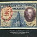 Billetes españoles: 25 PESETAS DE 1928 SELLO ROJO DE LA FALANGE JEFATURA LOCA DE ESPLUGAS DE LLOBREGAT BARCELONA - Nº9. Lote 162650386
