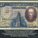 Billetes españoles: 25 PESETAS AÑO 1928 SELLO VIOLETA LA FALANGE JEFATURA LOCAL DE ESPLUGAS DE LLOBREGAT BARCELONA -Nº3. Lote 163079724