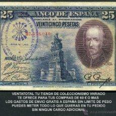 Billetes españoles: 25 PESETAS AÑO 1928 SELLO VIOLETA LA FALANGE JEFATURA LOCAL DE ESPLUGAS DE LLOBREGAT BARCELONA -Nº3. Lote 130079399