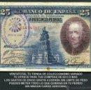 Billetes españoles: 25 PESETAS AÑO 1928 SELLO VIOLETA LA FALANGE JEFATURA LOCAL DE ESPLUGAS DE LLOBREGAT BARCELONA -Nº5. Lote 154344232