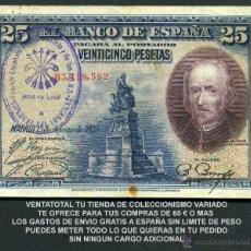 Billetes españoles: 25 PESETAS AÑO 1928 SELLO VIOLETA LA FALANGE JEFATURA LOCAL DE ESPLUGAS DE LLOBREGAT BARCELONA -Nº5. Lote 130083382