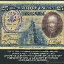 Billetes españoles: 25 PESETAS AÑO 1928 SELLO VIOLETA LA FALANGE JEFATURA LOCAL DE ESPLUGAS DE LLOBREGAT BARCELONA -Nº7. Lote 162650365