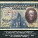 Billetes españoles: 25 PESETAS AÑO 1928 SELLO VIOLETA LA FALANGE JEFATURA LOCAL DE ESPLUGAS DE LLOBREGAT BARCELONA -Nº8. Lote 161723033