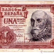 Billetes españoles: BILLETE DE UNA PESETA DEL 22 DE JULIO DE 1953. Lote 52930832