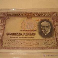 Billetes españoles: BILLETE 50 PESETAS 1935 SERIE A. RAMON Y CAJAL. SIN CIRCULAR.. Lote 52971717