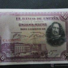 Billetes españoles: 50 PESETAS 15 AGOSTO 1928 EBC. Lote 53050781