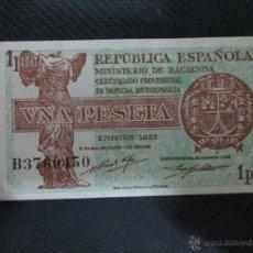 Billetes españoles: 1 PESETA 1937 REPUBLICA ESPAÑOLA EMISION 1937 SC SERIE B. Lote 53070561