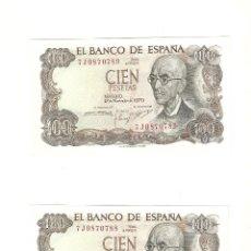 Billetes españoles: PAREJA BILLETES 100 PTS CORRELATIVOS 1970-PLANCHA. Lote 53256838