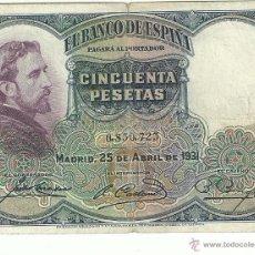 Billetes españoles: 50 PTAS. 1931. Lote 53259149