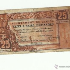 Billetes españoles: 25 CTS. 1937 LLEIDA. Lote 53259461