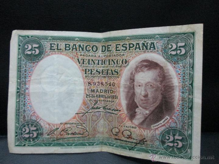 25 PESETAS MADRID 25 DE ABRIL 1931 REPUBLICA ESPAÑOLA BC (Numismática - Notafilia - Billetes Españoles)