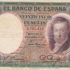 Billetes españoles: BILLETE: 25 PESETAS 25 ABRIL 1931 REPUBLICA ESPAÑOLA. Lote 53464633