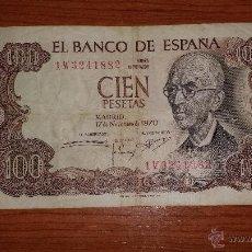 Billetes españoles: 100 PTAS.MANUEL FALLA - 17-11-70 SERIE 1W. Lote 53614951