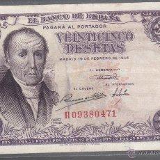 Billetes españoles: BILLETE. ESPAÑA. 25 PESETAS. 1946. FLOREZ ESTRADA. Lote 53724850