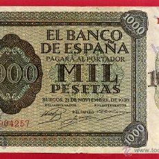 Billetes españoles: BILLETE 1000 PESETAS 1936 , MBC+ , SERIE B , ORIGINAL ,T257. Lote 53744651