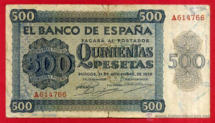 BILLETE 500 PESETAS 1936 , MBC- , SERIE A , ORIGINAL ,T766 (Numismática - Notafilia - Billetes Españoles)