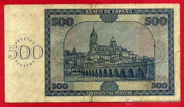 Billetes españoles: BILLETE 500 PESETAS 1936 , MBC- , SERIE A , ORIGINAL ,T766 - Foto 2 - 53744760