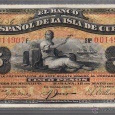 Billetes españoles: BANCO ESPAÑOL DE LA ISLA DE CUBA. 5 PESOS. 1896.SIN CERTIFICADO PLATA. Lote 181520932
