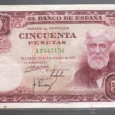 Billetes españoles: BILLETE. ESPAÑA. 50 PESETAS. 1951. VER. Lote 53762580