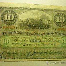 Billetes españoles: BILLETE 10 PESOS 15-5-1896 BANCO ESPAÑOL ISLA DE CUBA-DORSO DICE EN ROJO PLATA--BB. Lote 53822352