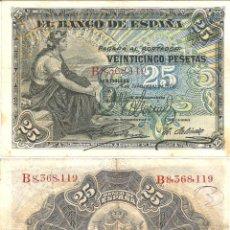 Billetes españoles: EXCEPCIONAL BILLETE DE 25 PESETAS AÑO 1906-MUY BIEN CONSERVADO+. Lote 54011820