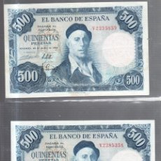 Billetes españoles: PAREJA CORRELATIVA. BILLETES DE 500 PESETAS. 1954. IGNACIO ZULOAGA.. Lote 54169599