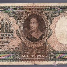 Billetes españoles: BILLETE. 1000 PESETAS. 1940. SERIE A. VER IMAGEN. Lote 54337303