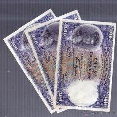 Billetes españoles: TRIO DE TRES BILLETES CORRELATIVOS. 100 PESETAS. 1931. SIN SERIE. VER IMAGEN. Lote 54409503
