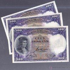Billetes españoles: TRIO DE TRES BILLETES CORRELATIVOS. 100 PESETAS. 1931. SIN SERIE. VER IMAGEN. Lote 54409739