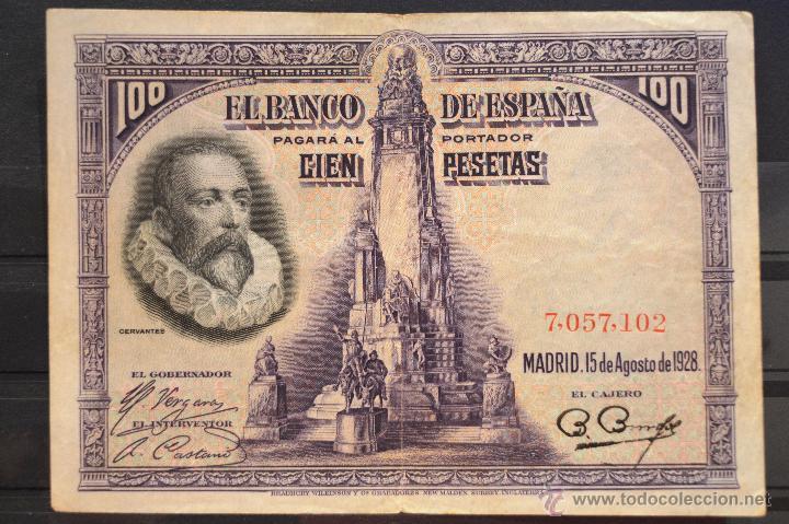 BILLETE 100 PESETAS 1925 15 DE AGOSTO DE 1928 SIN SERIE ESPAÑA (Numismática - Notafilia - Billetes Españoles)