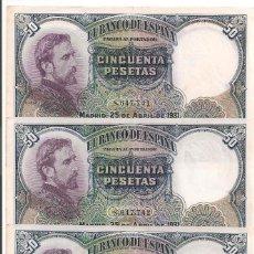 Billetes españoles: 50 PESETAS DE 1931 SIN SERIE-741/742/743 EDUARDO ROSALES (TRÍO CORRELATIVO MUY DIFÍCIL). Lote 55128139