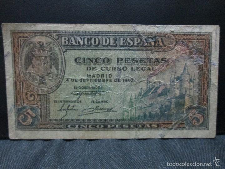 5 PESETAS 4 DE SEPTIEMBRE 1940 BC (Numismática - Notafilia - Billetes Españoles)