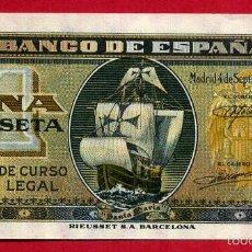 Billetes españoles: BILLETE 1 PESETA SEPTIEMBRE 1940 , PLANCHA , SERIE A , T410. Lote 55569609