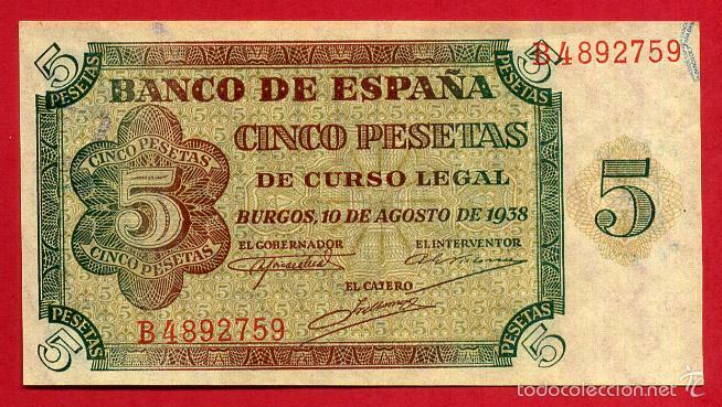 BILLETE 5 PESETAS BURGOS , AGOSTO 1938 , SIN CIRCULAR , SERIE B , T759 (Numismática - Notafilia - Billetes Españoles)