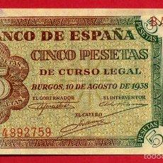 Billetes españoles: BILLETE 5 PESETAS BURGOS , AGOSTO 1938 , SIN CIRCULAR , SERIE B , T759. Lote 55569962