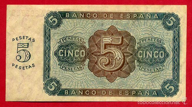 Billetes españoles: BILLETE 5 PESETAS BURGOS , AGOSTO 1938 , SIN CIRCULAR , SERIE B , T759 - Foto 2 - 55569962
