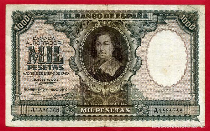 BILLETE 1000 PESETAS ENERO 1940 , MBC , SERIE A , T758 (Numismática - Notafilia - Billetes Españoles)