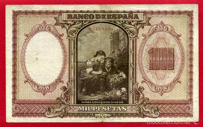 Billetes españoles: BILLETE 1000 PESETAS ENERO 1940 , MBC , SERIE A , T758 - Foto 2 - 55571125