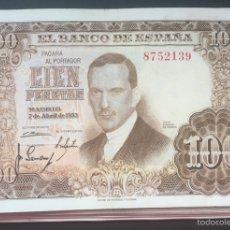 Billetes españoles: SIN SERIE OJO // 100 PESETAS DE 1953 MUY RARO EBC REF321112. Lote 90361482