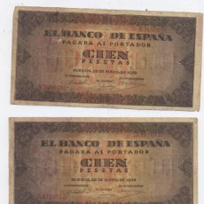 Billetes españoles: LOTE DE 3 BILLETES DE100 PESETAS-BURGOS-20-05-1938. Lote 56264103